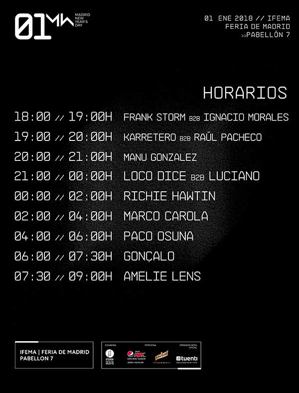 Horarios New Years Day Madrid